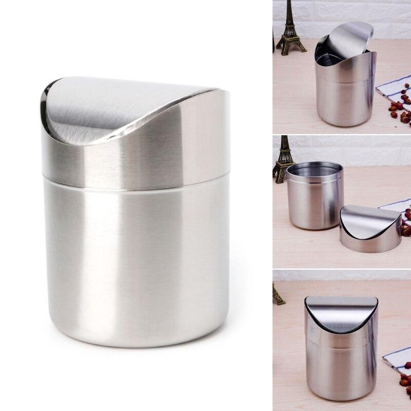 YAS Stainless Steel Desk Trash Bin Countertop Waste Can With Swing Lid 1.5 L Mini DustBin