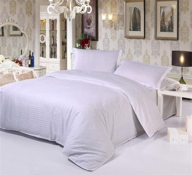 1cm Stripe Solid Color Home Textile Hotel White Bedding Set Queen King 4pcs  Duvet Cover Bedclothes