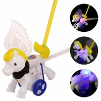 Arshiner LED Flashing Hand Push Wheels Horse Animal Toys with Wing Kids Bell Toys Gifts For Boy And Girl Light-up toys