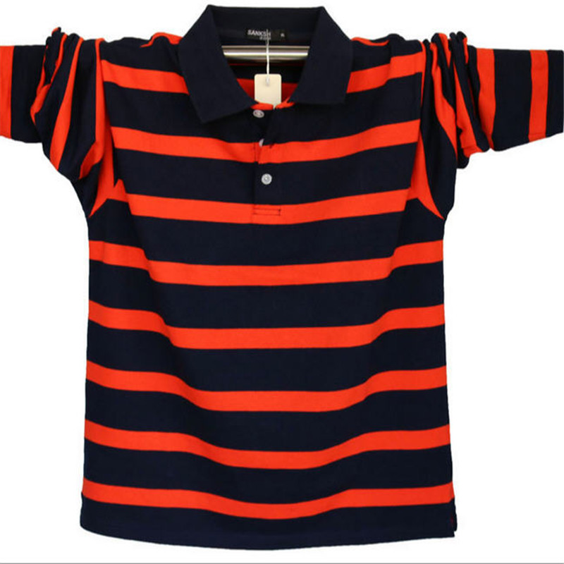 Spring And Autumn Casual Men Cotton Poloshirt Long Sleeve Striped Breathable Loose Male   Polos   Plus Size 4XL 5XL A1588