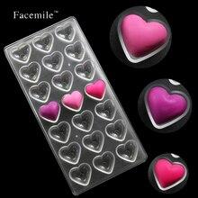 Facemile corazones dulces de chocolate molde de budín bandeja de moldeo fondant cake 21-cavity policarbonato hecha a mano herramientas de la hornada 54010