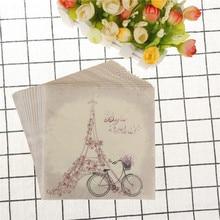 Servilletas de papel para mesa Vintage servilletas decoración con decoupage boda fiesta de cumpleaños tejido impreso púrpura flor Torre tacón alto bicicleta