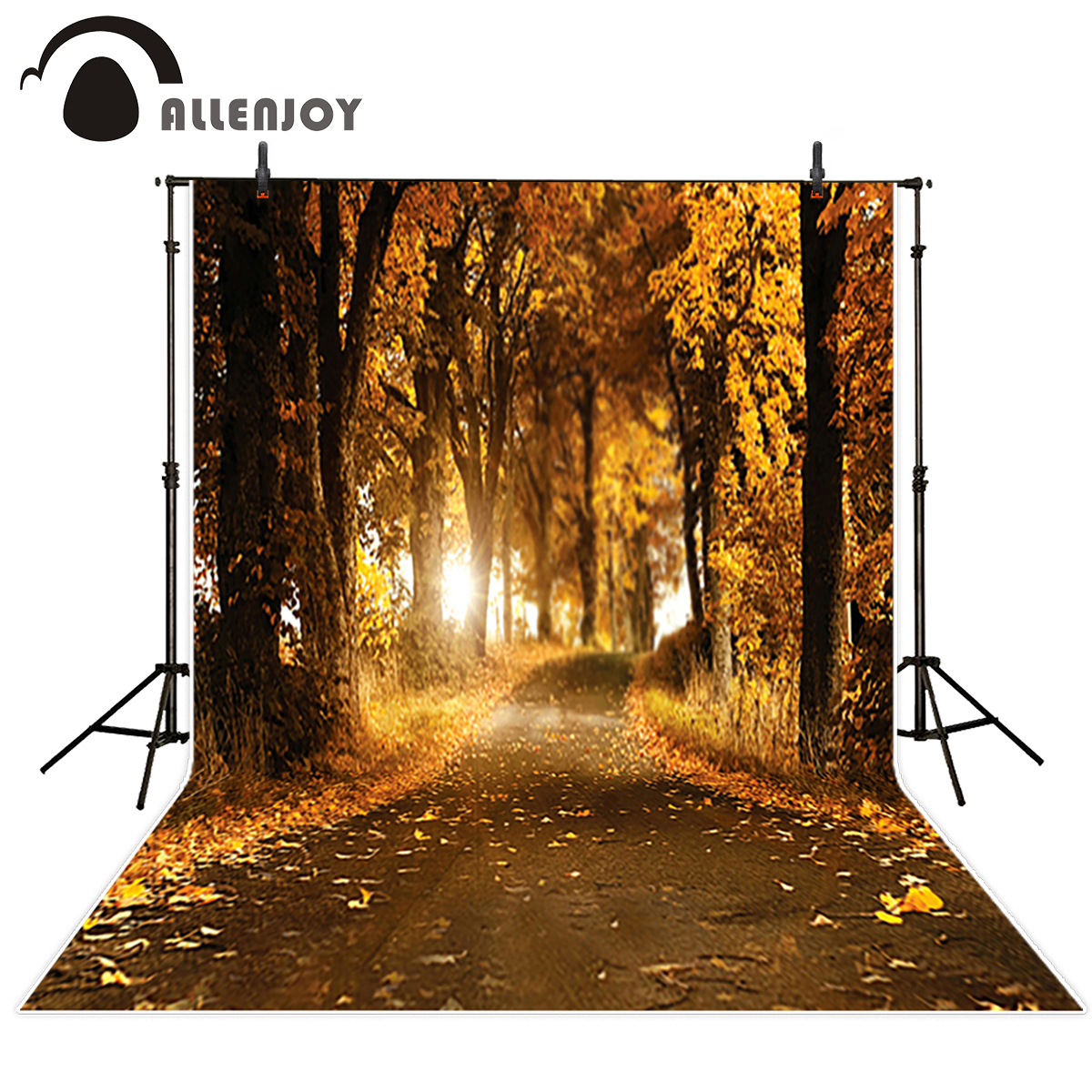 Allenjoy photography backdrop dark autumn yellow tree path leaves natual backgrounds vinyl cloth fabric professional сумка для фотоаппарата hugger tree trunk dark grey