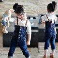 Calças de brim da menina Frete grátis calças moda cowboy crianças denim macacão outono crianças calças de alta qualidade de varejo por atacado