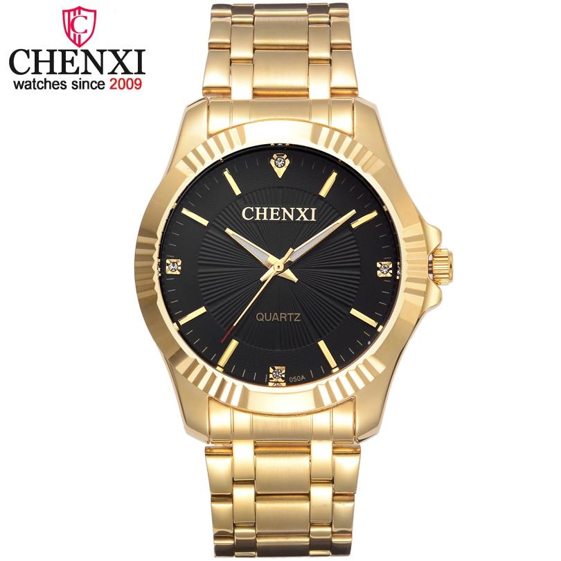 CHENXI Marke Berühmte Edle Gentlmen Beobachten Klassischen Luxus Gold Edelstahl Quarz Männlichen Uhren Mode Zarte Geschenk Uhr Männer