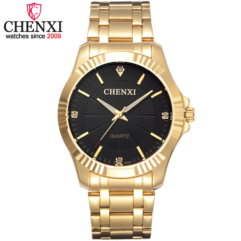 CHENXI Brand Famous Noble Gentlmen Watch Classic Luxury Gold Stainless Steel Quartz Male Watches Fashion Delicate Gift Clock Men