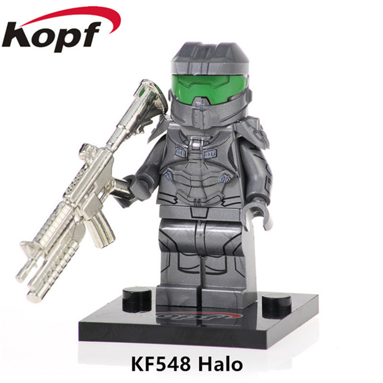50Pcs KF548 Building Blocks Halo Spartan Solider Warrior With Real Metal Weapon Action Figures Bricks Toy For Children Gift Toys(China)