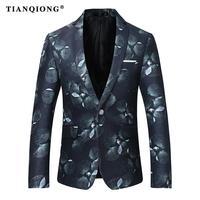 TIAN QIONG degli uomini Casuali Blazer Slim Fit Fashion Stampa Floreale Blazer Uomo Top Quality Nero Blazer Formato S-4XL Blazer Masculino
