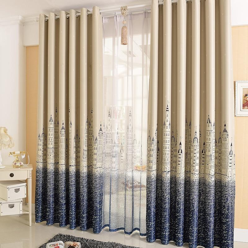 water city] blue shading custom curtains IKEA bedroom balcony ...