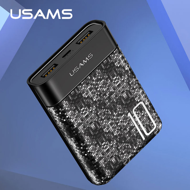 Powerbank for iphone Huawei Xiaomi Power Bank Original USAMS 10000mah Mini Dual USB Power Bank Polymer Battery for Mobile Phone