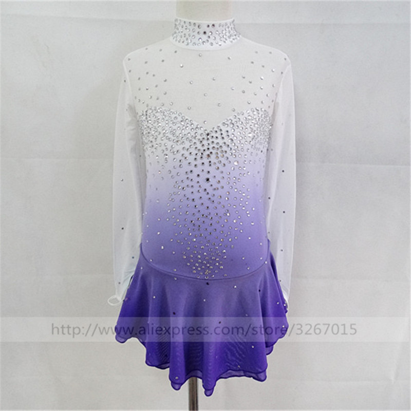 Custom Ice Figure Skating Dresses For Girls New Brand Ice Skating Dresses For Competition White purple color gradient