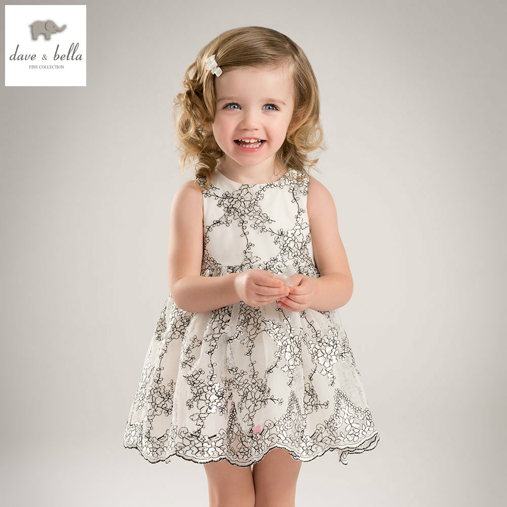 DB5656 dave bella summer baby girl princess dress baby pear embroidery dress kids birthday clothes dress girls costumes db4953 dave bella summer baby girl princess dress baby big bow net yarn wedding dress kids birthday clothes dress girls costumes