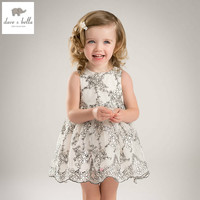 DB5656 Dave Bella Summer Baby Girl Princess Dress Baby Pear Embroidery Dress Kids Birthday Clothes Dress
