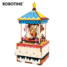 Drop Shipping Robotime 3D Puzzle DIY Wedding Souvenirs Wooden Restaurant Decoration Christmas Music Box Merry-go-round AM304