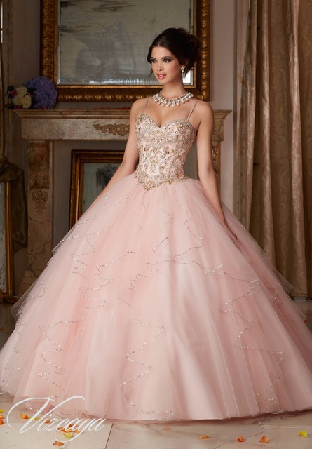 737f66a34ff New Arrival Light Pink Quinceanera Dresses Sweetheart Crystal Beading 15  year Old Organza Party Gown