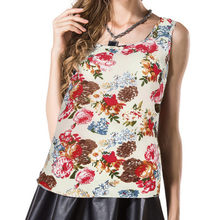 2018 Sleeveless vest printed chiffon shirt loose bottoming shirt Women O-Neck Printed Sleeveless Vest Chiffon Tops T-Shirt(China)