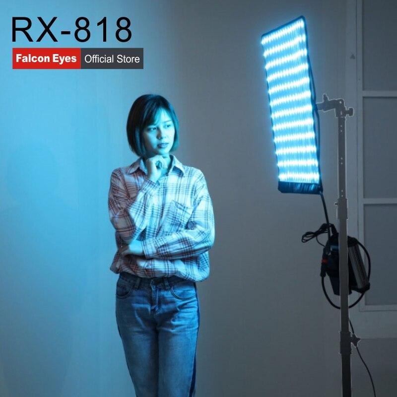 Falcon Eyes 100W RGB LED Luz de vídeo soporte APP Control Remoto Portátil 8 modos de escena lámpara de iluminación continua RX-818