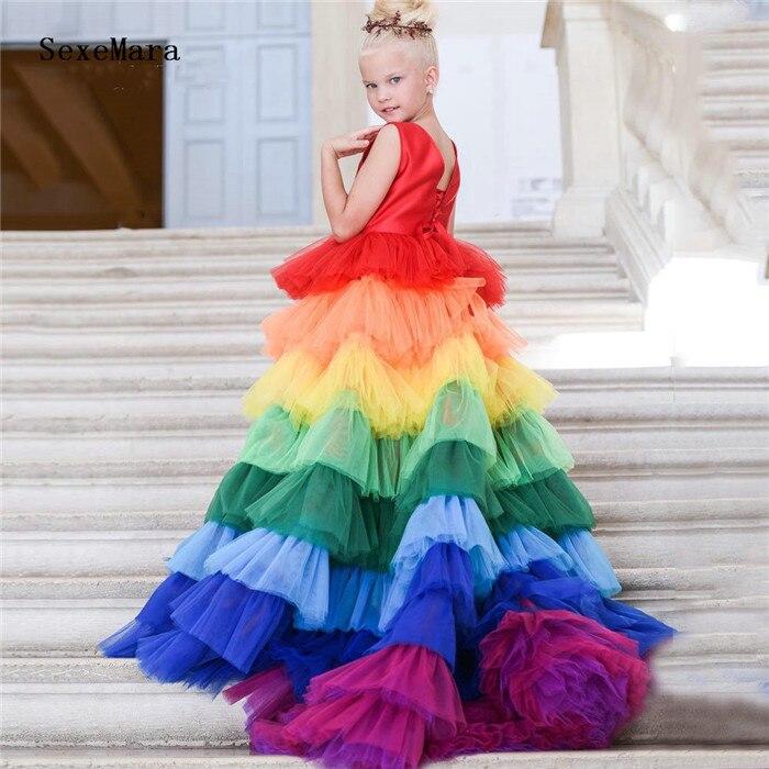 Coloré arc-en-ciel fleur fille robe couches O cou enfants robes de reconstitution historique pour les filles première primera comunion robe sur mesure taille