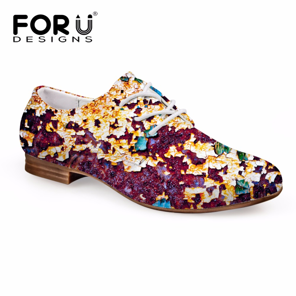 FORUDESIGNS Retro Women Casual Flats Shoes Fashion Lace-up Leather Oxfords Shoes for Women Breathable Female Business Shoes keloch genuine leather women platform brogue shoes for women british retro lace up oxfords female casual flats chaussure femme