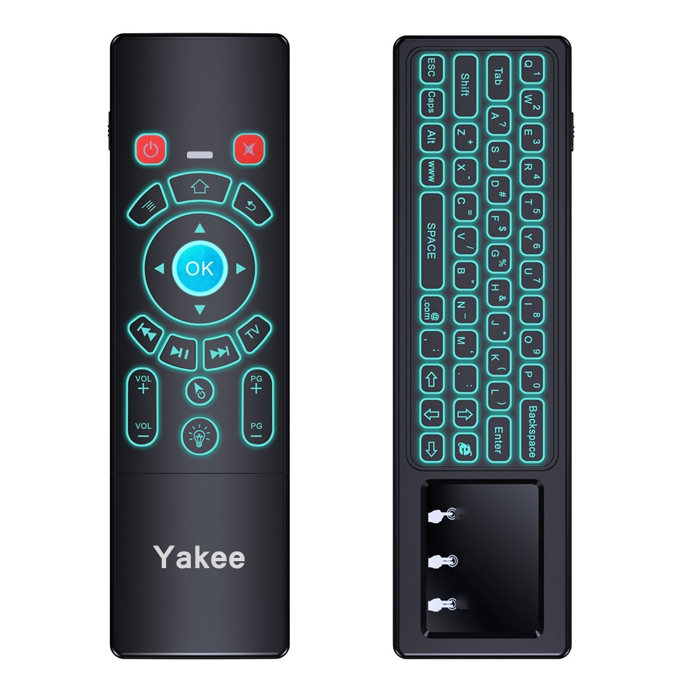 цена на Yakee T6 Air mouse with 7 colors backlight and Wireless Keyboard touch pad Remote Control for Android TV Box mini PC Projector