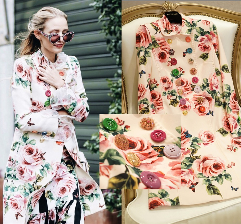 Women Double Breasted Rose Print Coat   Trench   With Various Buttons