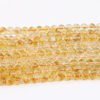 New Arrival Natural Stone Beads Smooth Yellow Crystal 6mm 8mm 10mm Round Loose Beads For Jewelry