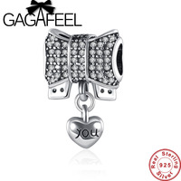 GAGAFEEL Authentic 925 Sterling Silver Knot Heart Charm Fit 3MM Snake Chain Bracelet Amp Necklace DIY