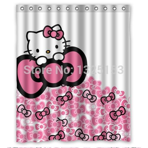 Beautiful And Cute Hello Kitty Shower Curtain 60x72 Inch Farbic For Bathroom Curtains Decor