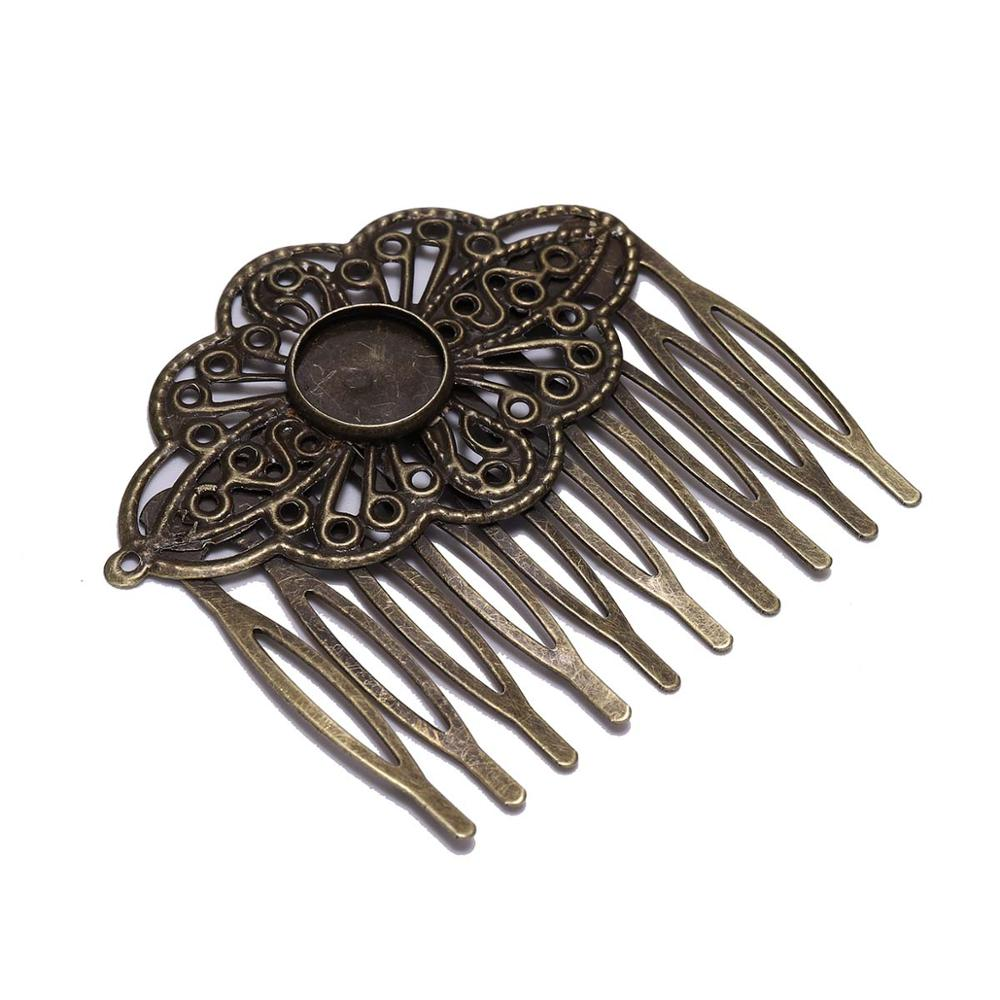 5pcs 52*56mm Antique Bronze Hair Comb Jewelry Making Hairpins Findings Fit 12mm Glass Cabochons Settings Hair Clips Accessories