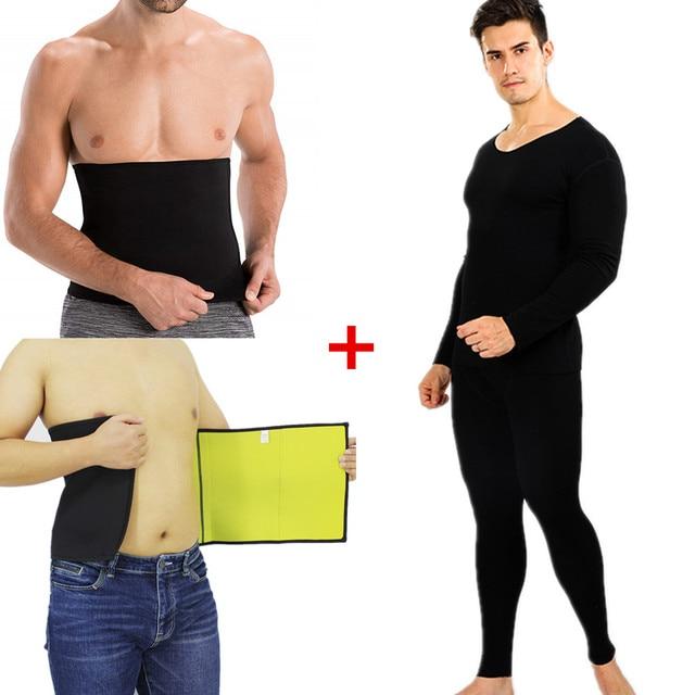 Men Slimming T-Shirt Waist Trainer Belt Body Shapers Pants Long Sleeves Fat Burning Shaperwear Sweat Sauna Modeling Strap Corset