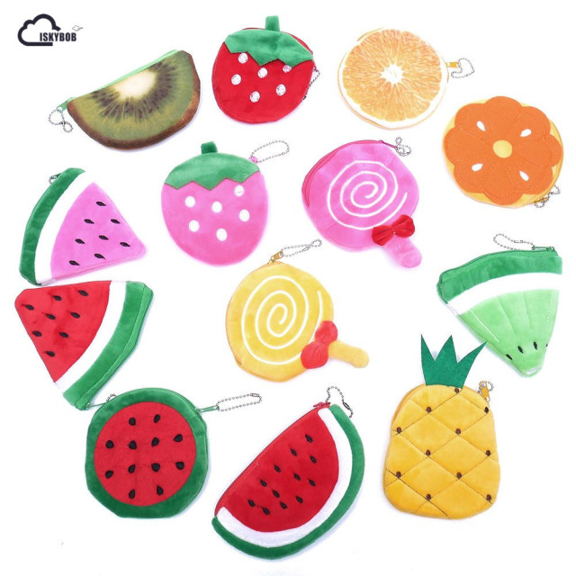 Kawaii Fruits Plush Coin Purse Children Zip Small Change Purse Wallet Women Pouch Money Bag Girl Mini Short Coin Holder Wallet