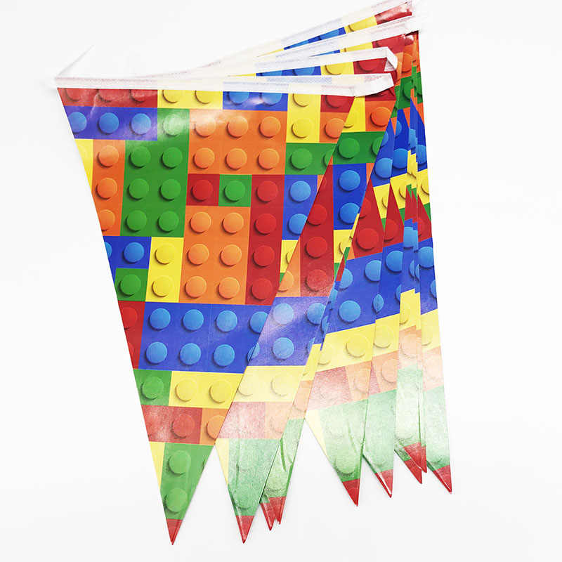 10pcs/pack party banners Lego Blocks theme party decorations baby shower party supplies Lego Blocks party flags