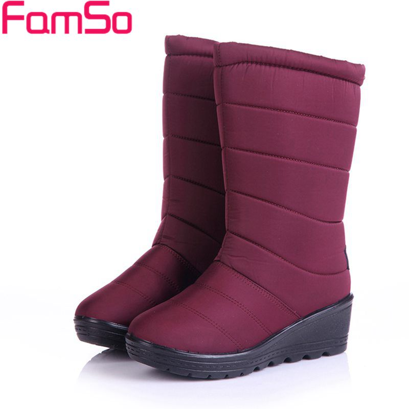 FAMSO 2017 Shoes Women Boots black red Mid-Calf Riding Boots Russia Winter Waterproof Keep Warm Snow Boots Down Shoes SBT3539 рюкзак case logic 17 3 prevailer black prev217blk mid