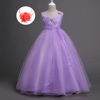 Chinese Mesh Beads Lace Applique Pearl Kids Fancy Princess Clothes 5 To 14 Years Luxury Wedding