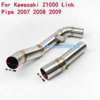 Motorcycle Exhaust Escape Modified Middle Link Pipe Round Muffler Motorbike For Kawasaki Z1000 2007 2008 2009 Without Exhaust link pipe motorcycle exhaust pipe motorcycle pipes exhaust -