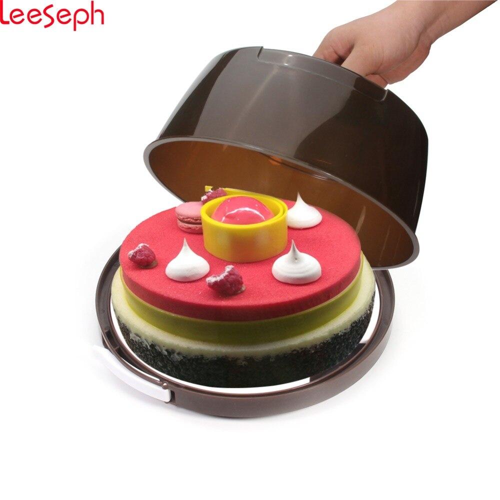 Portador de pastel y servidor-caja de almacenamiento de pretensión de bloqueo portátil, caja de transporte de cupcakes, 10 por 4 pulgadas
