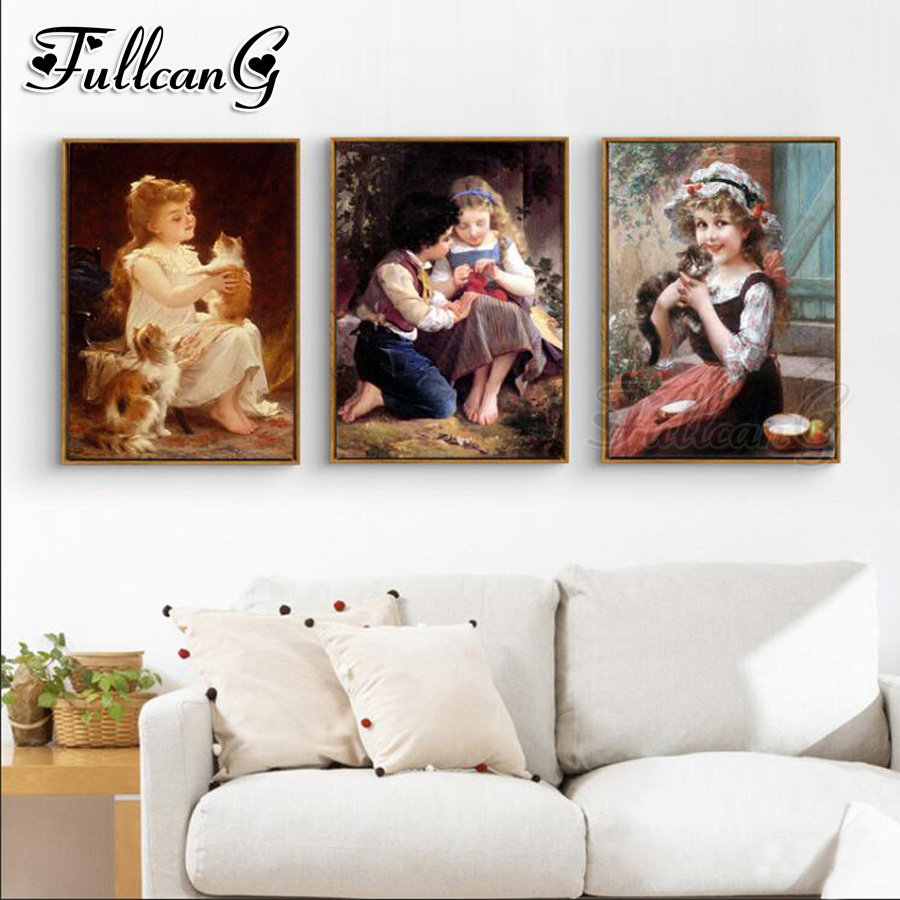 FULLCANG 3pcs diy diamond embroidery girl and cat painting triptych kids full square/round drill nordic style FC1132
