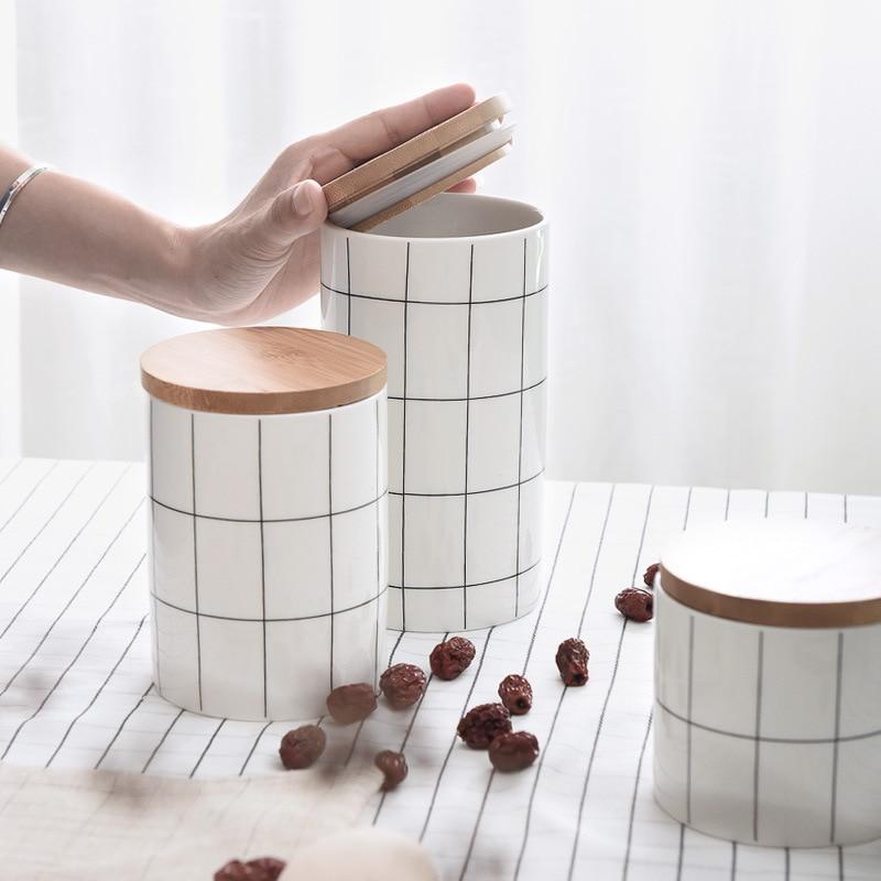 HIPSTEEN Plaid Sealed Ceramic Storage Jar voor kruiden Tea Coffee Can - Home opslag en organisatie