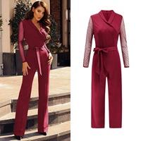 New Women's V neck Waist Splicing Wave Point Long Sleeve Jumpsuit Lace Long Sleeve Tops Plus Size Overalls One Piece Sexy Costum