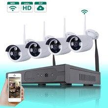 4 ШТ. 2.0 Мегапиксельная 1080 P Беспроводная Уличная Ip-камера Системы Ночного Видения 4CH Безопасности 1080 P HD Сеть Wi-Fi NVR комплект Смартфон посмотреть