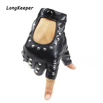 1Pair Fashion Half Finger Driving Gloves Breathable Women PU Leather Fingerless Gloves For Lady Black Women Rivet Dancing Luvas women rivets leather gloves semi finger mens rivet belt pu gloves sexy cutout fingerless gloves