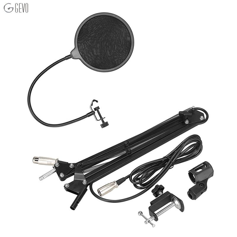 ФОТО Desktop Studio Recording Mic Microphone Stand Suspension Boom Scissor Arm Holder Adjustable with Clamp+Pop Filter + 3M XLR Cable