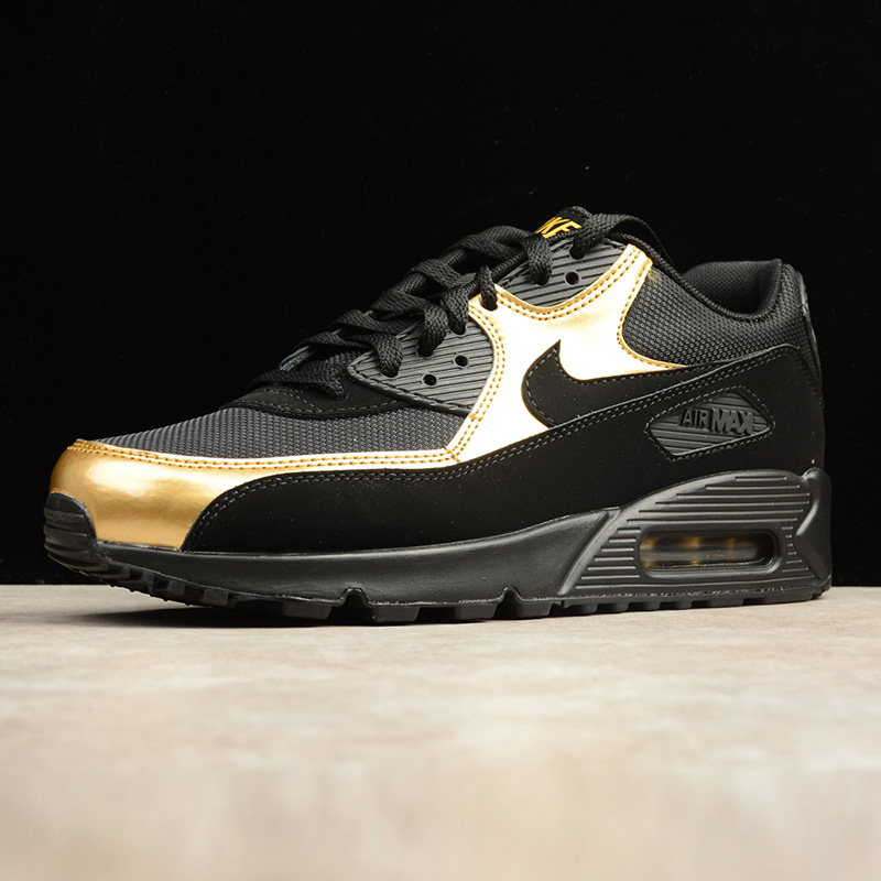 size 40 60cc0 d91b4 NIKE AIR MAX 90 ESSENTIAL Men's Running Shoes , Outdoor Sneakers Shoes,Black  Gold, Non slip Wear Resistant Breathable 537384 058-in Running Shoes from  ...