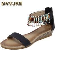 MVVJKE Femmes Sandales Exquis Diamant Bohème National Strass Mode Chaussures Plates Grande Taille Casual Chaussures Étés Sandales