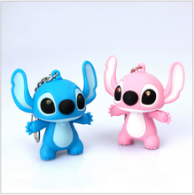 New Arrival Lilo & Stitch LED Flashlight Keychain with Sound Cute Action Figure Toys Gift Music Keychain Action-035
