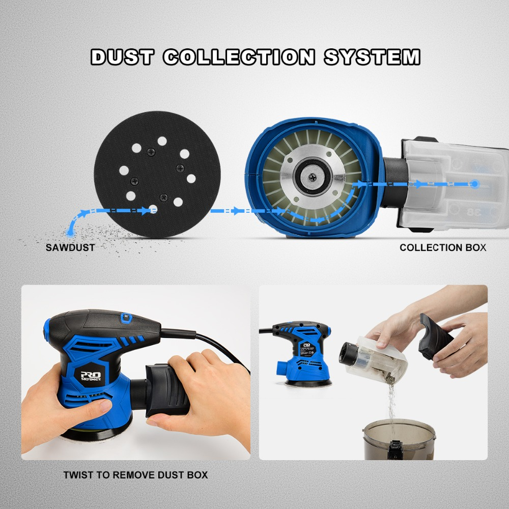Image 4 - PROSTORMER 300W Random Orbital Electric Sander Machine with 21Pcs 125mm Sandpapers 120V/240V Strong Dust Collection Polisher-in Sanders from Tools on