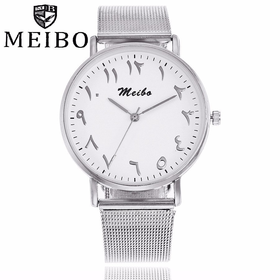 2017 New MEIBO Brand Stainless Steel Silver Gold Mesh Watch Unique Arabic Numbers Watches Classic Women Men Quartz Wristwatches arabic numbers dial design women s fashion watch stainless steel ultra thin silver women quartz watches bgg brand horloge saat