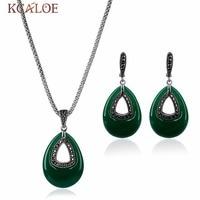 KCALOE 2017 New Green Natural Stone Jewelry Sets Vintage Retro Black Crystal Rhinestone Cubic Zirconia Necklace