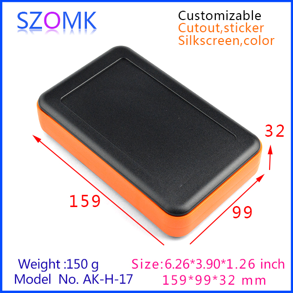 1 piece free shipping power plastic enclosure abs pcb housing for electronics with rings in different colors 159x99x32 mm