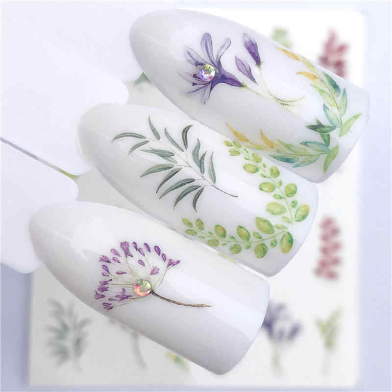 FWC 2019 NEW Designs Colored Grass Water Transfer Sticker Nail Art Decals DIY Fashion Wraps Tips Manicure Tools